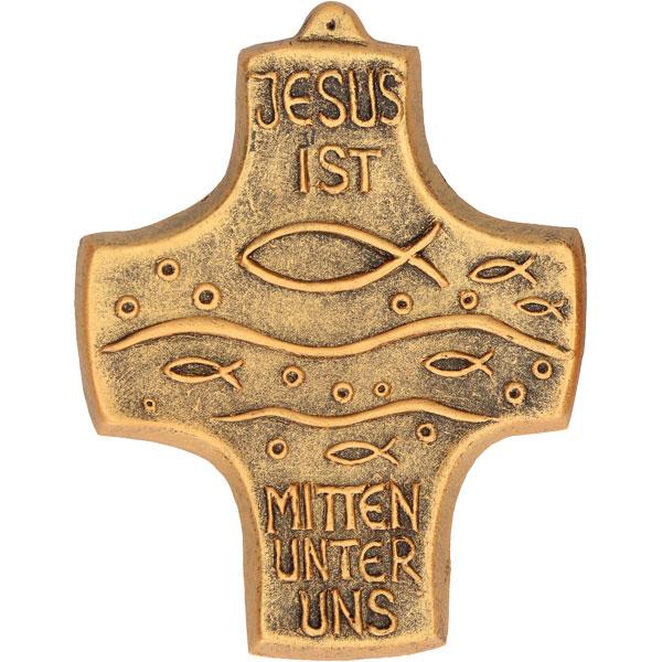 Bronzekreuz 142209, h=9,8cm, Jesus ist mitten unter uns