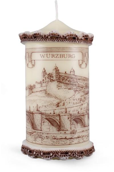 Städtestichkerze, Würzburg Kerze, 15 x 8 cm, Siebdruck, Wachszierrand
